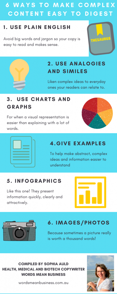 Infographic covering 6 ways to make health content easier to understand